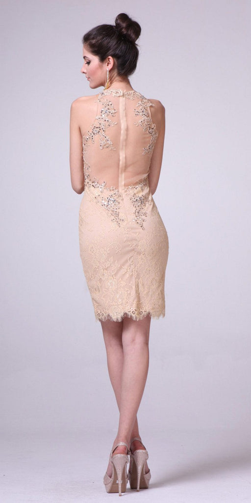 Gold Lace Halter Sheath Party Dress Illusion Back