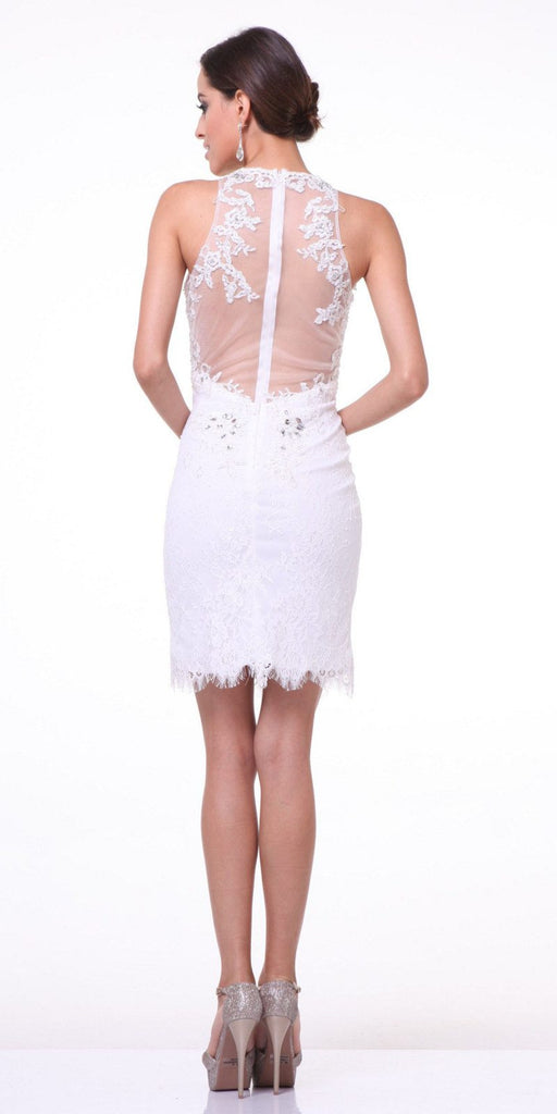 Off White Lace Halter Sheath Party Dress Illusion Back