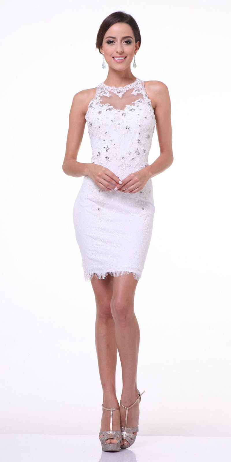 5d110283bdc7 Cinderella Divine JC3455 Off White Lace Halter Sheath Party Dress ...