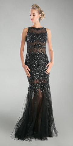 Cinderella Divine JC4199 Black Beaded Illusion Prom Gown Keyhole Back