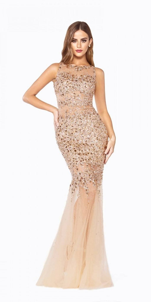 Gold Beaded Illusion Prom Gown Keyhole Back