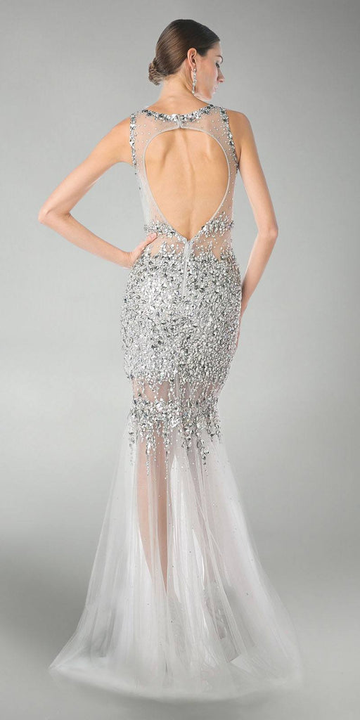 Cinderella Divine JC4199 Silver Beaded Illusion Prom Gown Keyhole Back View
