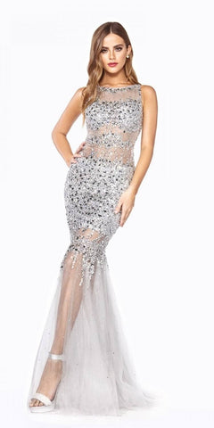 Silver Beaded Illusion Prom Gown Keyhole Back