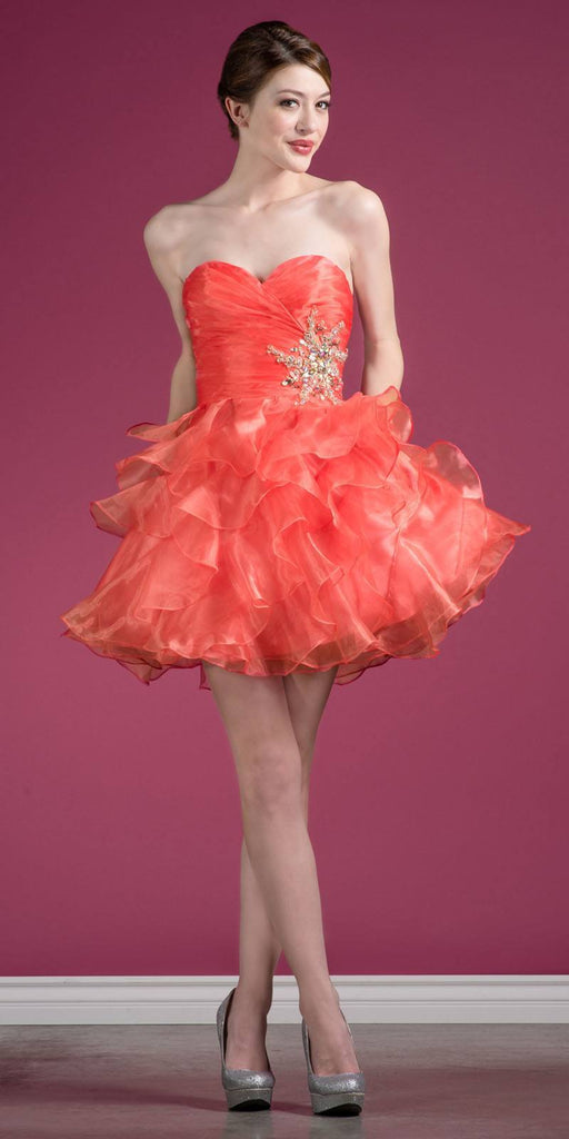 Cinderella JC822 Short A Line Poofy Ball Gown Coral Sweetheart Organza
