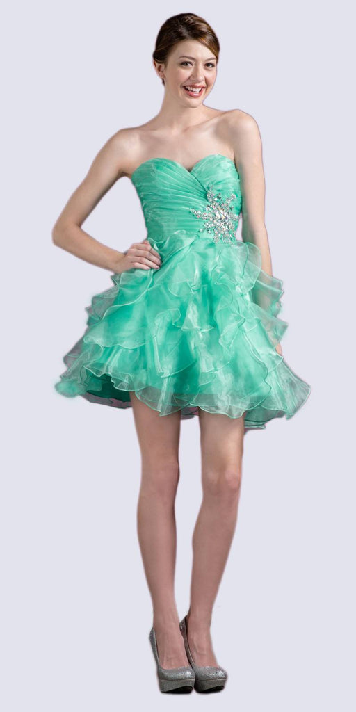Cinderella JC822 Short A Line Poofy Ball Gown Mint Sweetheart Organza