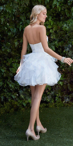 Cinderella JC822 Short A Line Poofy Ball Gown Off White Sweetheart Organza