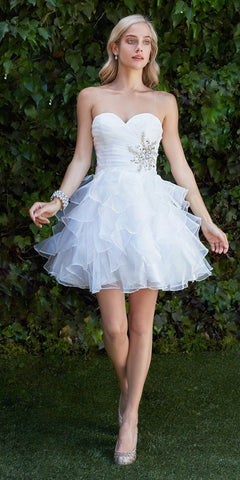 Strapless Satin White Knee Length Dress Pleated Bodice