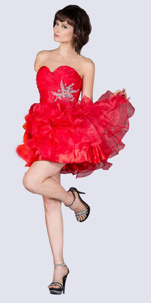 Cinderella JC822 Short A Line Poofy Ball Gown Red Sweetheart Organza