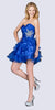 Cinderella JC822 Short A Line Poofy Ball Gown Royal Blue Sweetheart Organza