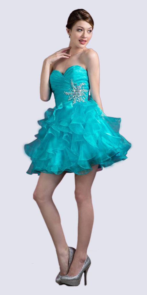 Cinderella JC822 Short A Line Poofy Ball Gown Turquoise Sweetheart Organza