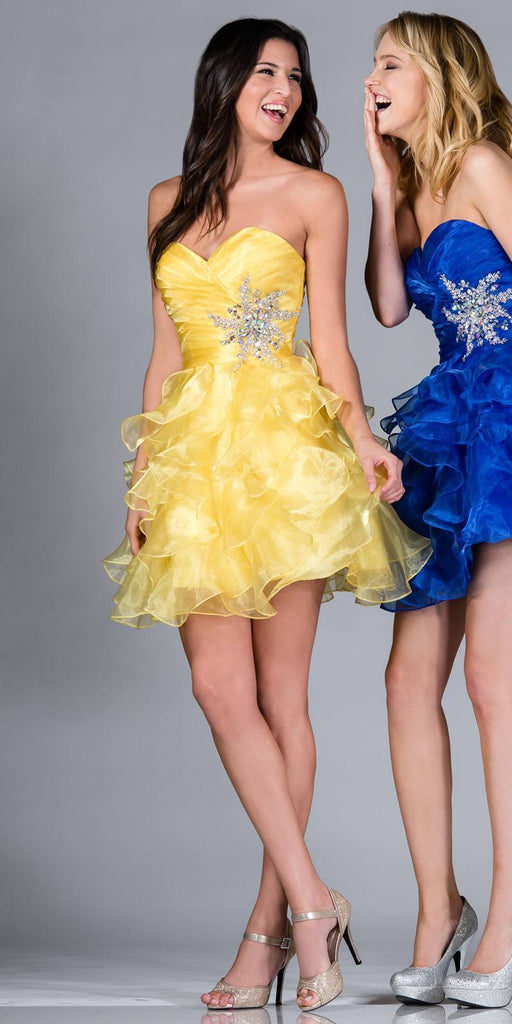 Cinderella JC822 Short A Line Poofy Ball Gown Yellow Sweetheart Organza