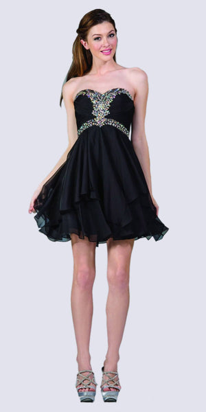 Cinderella Divine JC889 Short A Line Prom Dress Black Chiffon Jeweled Sweetheart