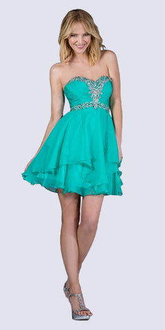 Cinderella Divine JC889 Short A Line Prom Dress jade Chiffon Jeweled Sweetheart