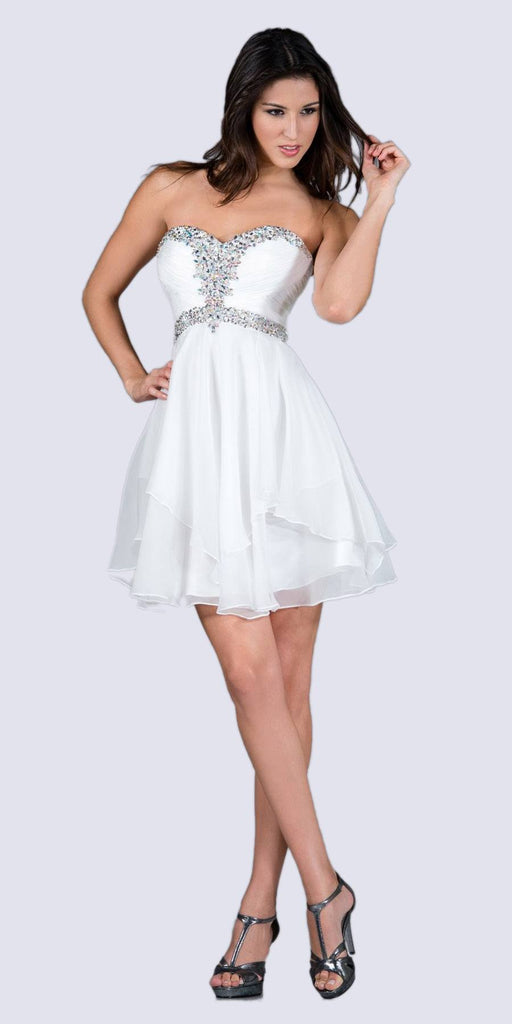 Cinderella Divine JC889 Short A Line Prom Dress Off White Chiffon Jeweled Sweetheart
