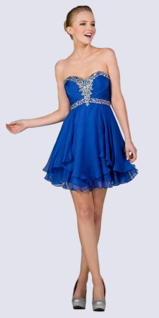 Cinderella Divine JC889 Short A Line Prom Dress Royal Blue Chiffon Jeweled Sweetheart