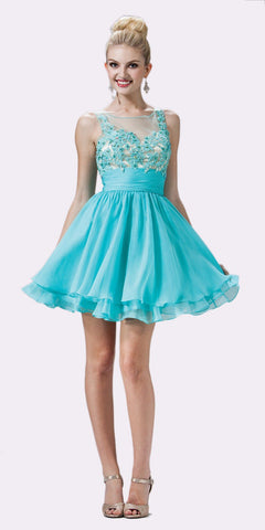 Cinderella Divine JC918 Short A Line Dress Aqua Chiffon Illusion Neck