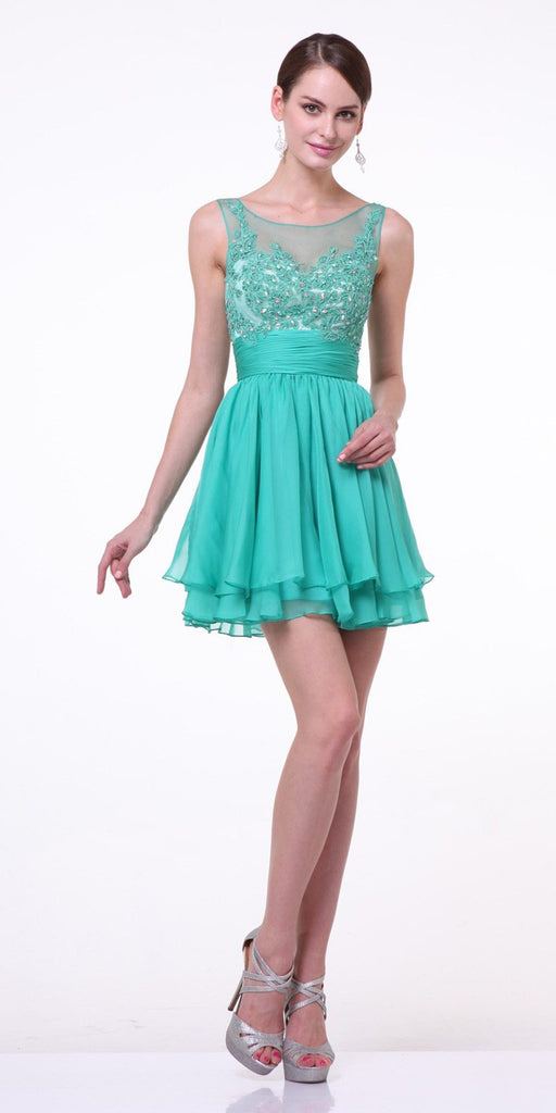 Cinderella Divine JC918 Short A Line Dress Jade Chiffon Illusion Neck