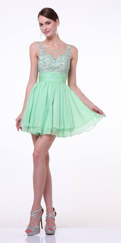 Cinderella Divine JC918 Short A Line Dress Light Green Chiffon Illusion Neck
