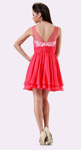 Cinderella Divine JC918 Short A Line Dress Watermelon Chiffon Illusion Neck Back View