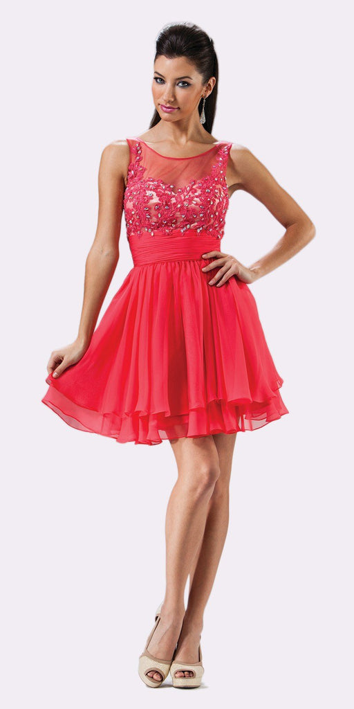 Cinderella Divine JC918 Short A Line Dress Watermelon Chiffon Illusion Neck