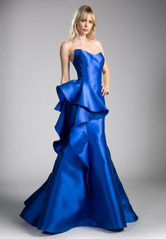 Royal Blue Mermaid Strapless Prom Gown with Ruffles