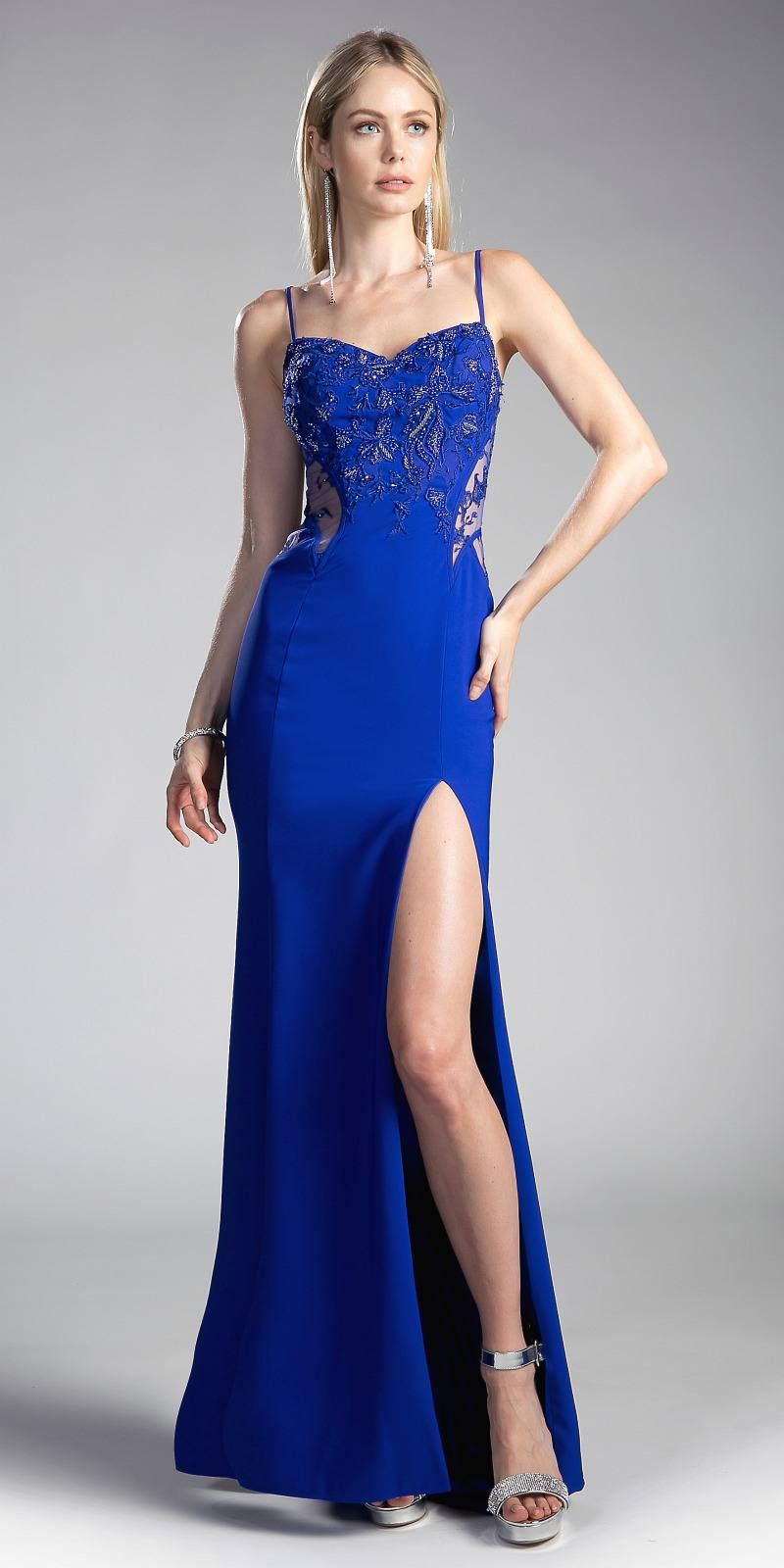 Cinderella Divine JS0403 Royal Blue Long Prom Dress with Sheer ...