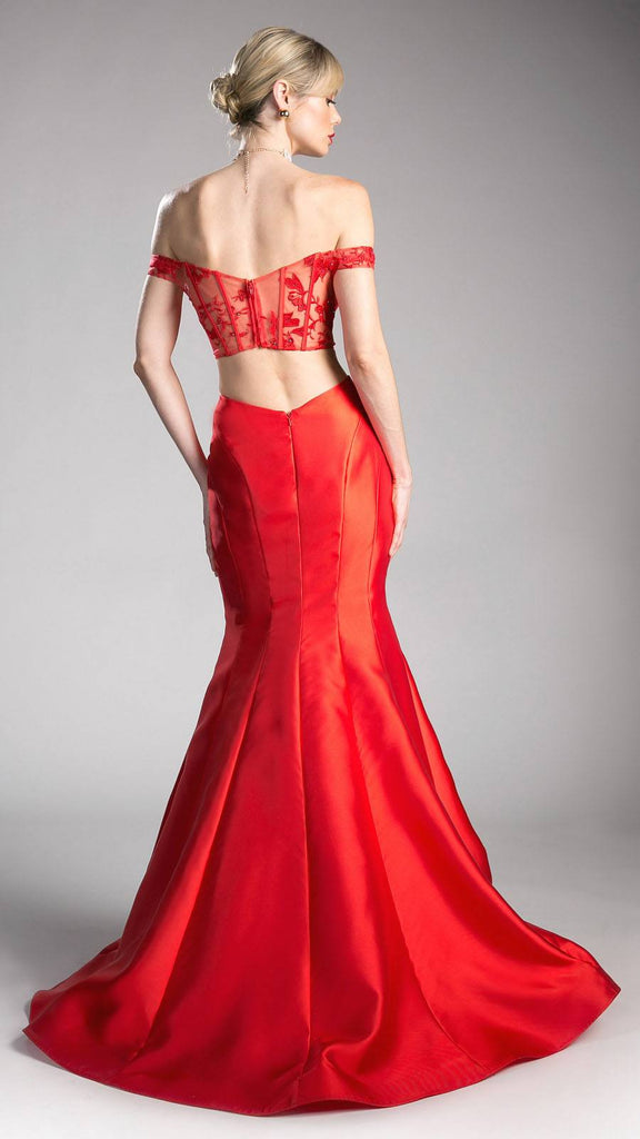 Red Off Shoulder Mermaid Prom Gown with Cut-Out Back
