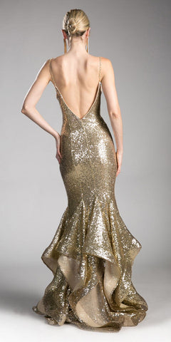 Sequins Ruffled Mermaid Prom Gown V-Shape Open Back Gold
