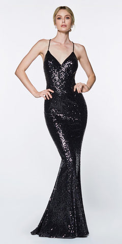 Cinderella Divine JS0406 Long Fitted Sequin Gown Black Sheath V-Neckline Criss-Cross Back