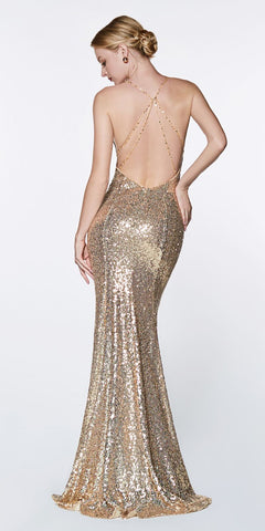 Cinderella Divine JS0406 Long Fitted Sequin Gown Gold Sheath V-Neckline Criss-Cross Back