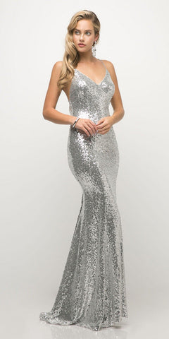 Cinderella Divine JS0406 Long Fitted Sequin Gown Silver Sheath V-Neckline Criss-Cross Back