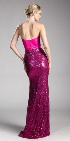 Strapless Long Prom Dress with Sweetheart Neckline Fuchsia