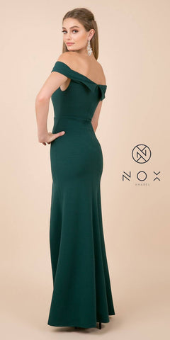 Off-Shoulder Green Fit and Flare Long Formal Dress with Slit