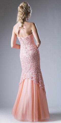 Strapless Appliqued Mermaid Prom Gown Lace Up Back Blush