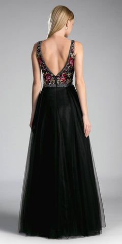 Black Embroidered V-Neck and Back Long Formal Dress