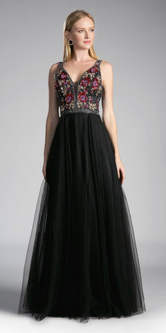 Black Illusion Embroidered Bodice Tulle Skater Skirt Homecoming Dress