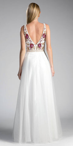 White Embroidered V-Neck and Back Long Formal Dress