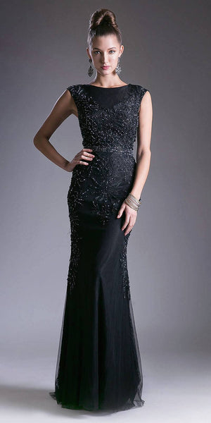 Black Appliqued Long Formal Dress Cap Sleeved