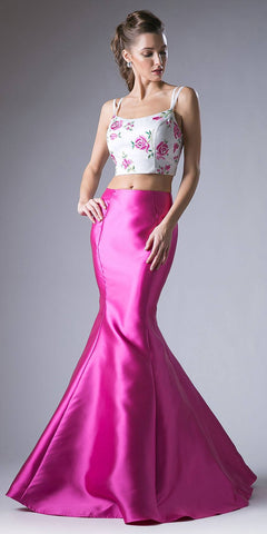 Fuchsia Two-Piece Prom Gown Embroidered Crop Top