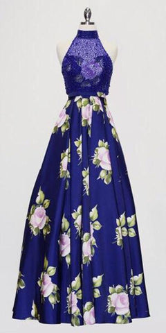 Cinderella Divine KC1743 - Royal Blue Flower Print Halter Prom Dress - DiscountDressShop