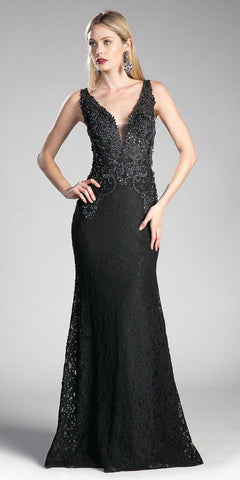 Appliqued Long Mermaid Formal Dress V-Neck Black