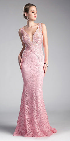 Appliqued Long Mermaid Formal Dress V-Neck Blush