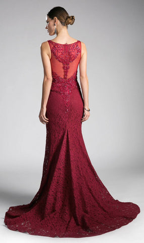 Appliqued Long Mermaid Formal Dress V-Neck Burgundy
