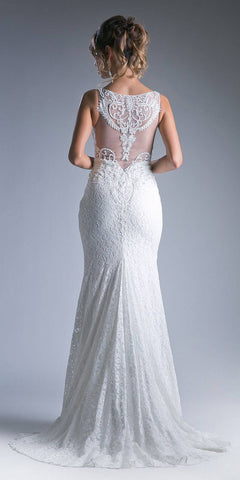 Appliqued Long Mermaid Formal Dress V-Neck White