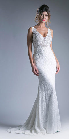 Appliqued Long Mermaid Formal Dress V-Neck White Back View