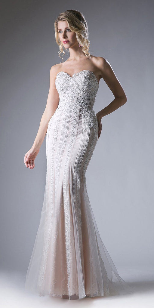 Cinderella Divine KC1759 Floor Length Beaded Lace White Sheath Gown