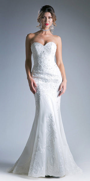 Cinderella Divine KC1762 Embroidered Sheath Formal White Gown Floor Length