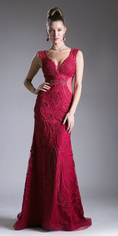 Deep Red Beaded Mermaid Prom Gown Sheer Side Cut Outs