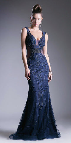 Navy Blue Beaded Mermaid Prom Gown Sheer Side Cut Outs