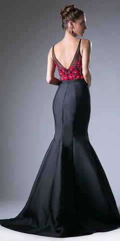Embroidered Top Mermaid Long Prom Dress Black